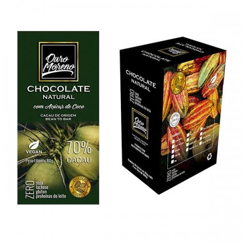 Barra de chocolate 70% cacau com açúcar de coco 80g - caixa com 10