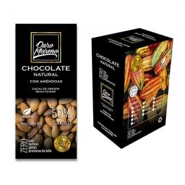 Chocolate com amêndoa  natural 50% cacau - barras 80 g caixa com 10 un.