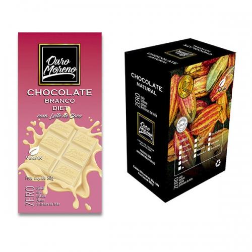 Barra de chocolate diet branco de 80g ouro moreno - caixa com 10