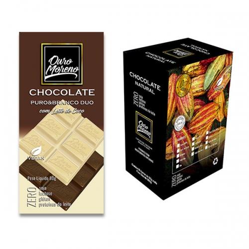 Chocolate duo  50% cacau puro & branco - barras 80 g caixa com 10 unidades