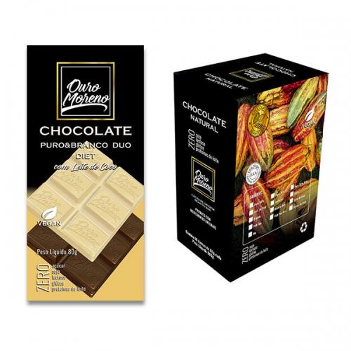 Barra de chocolate diet duo puro e branco com maltitol 50% cacau 80g - caixa com 10