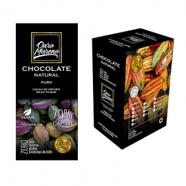 Chocolate natural 70% cacau - barras 80 g caixa com 10 un.