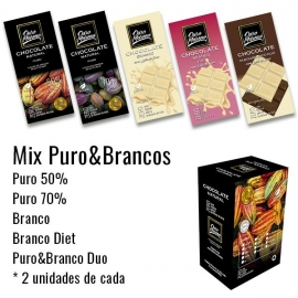 Mix puro & branco - barras 80g  caixa com 10 unidades