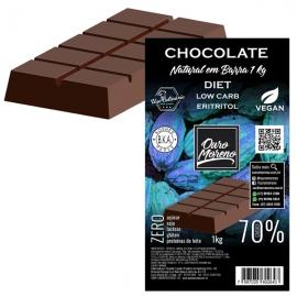 Barra de Chocolate 70% Diet Low Carb com eritritol culinário - 1kg