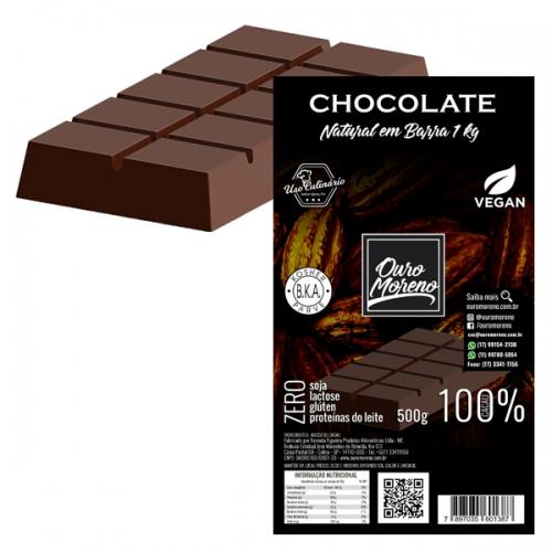 Barra de chocolate para derreter 100% cacau ouro moreno - 1 kg