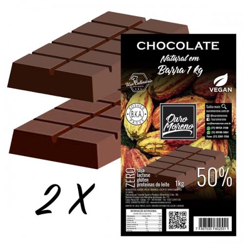 Kit 2 barras de chocolate para derreter 50% cacau ouro moreno - 1 kg x 2