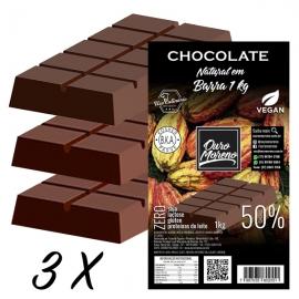 Kit 3 Barras de Chocolate para derreter 50% cacau Ouro Moreno - 1 kg x 3