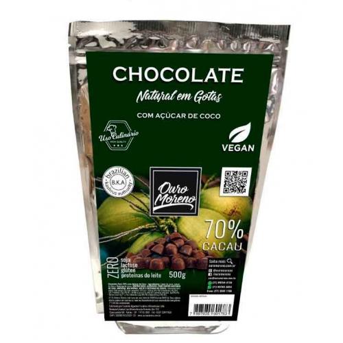 Gotas  70% cacau com açúcar de coco - pacote de 500g
