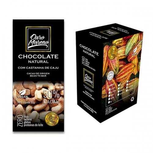 Chocolate com caju  natural 50% cacau  - barras 80 g caixa com 10 un.