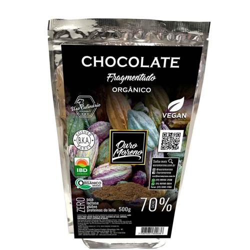 Chocolate fragmentado  orgânico 70% cacau - pacote 500g