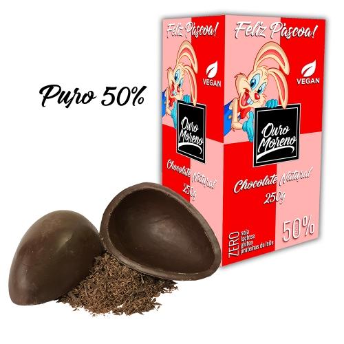 Ovo de páscoa chocolate natural 50% cacau infantil 250g cx. rosa